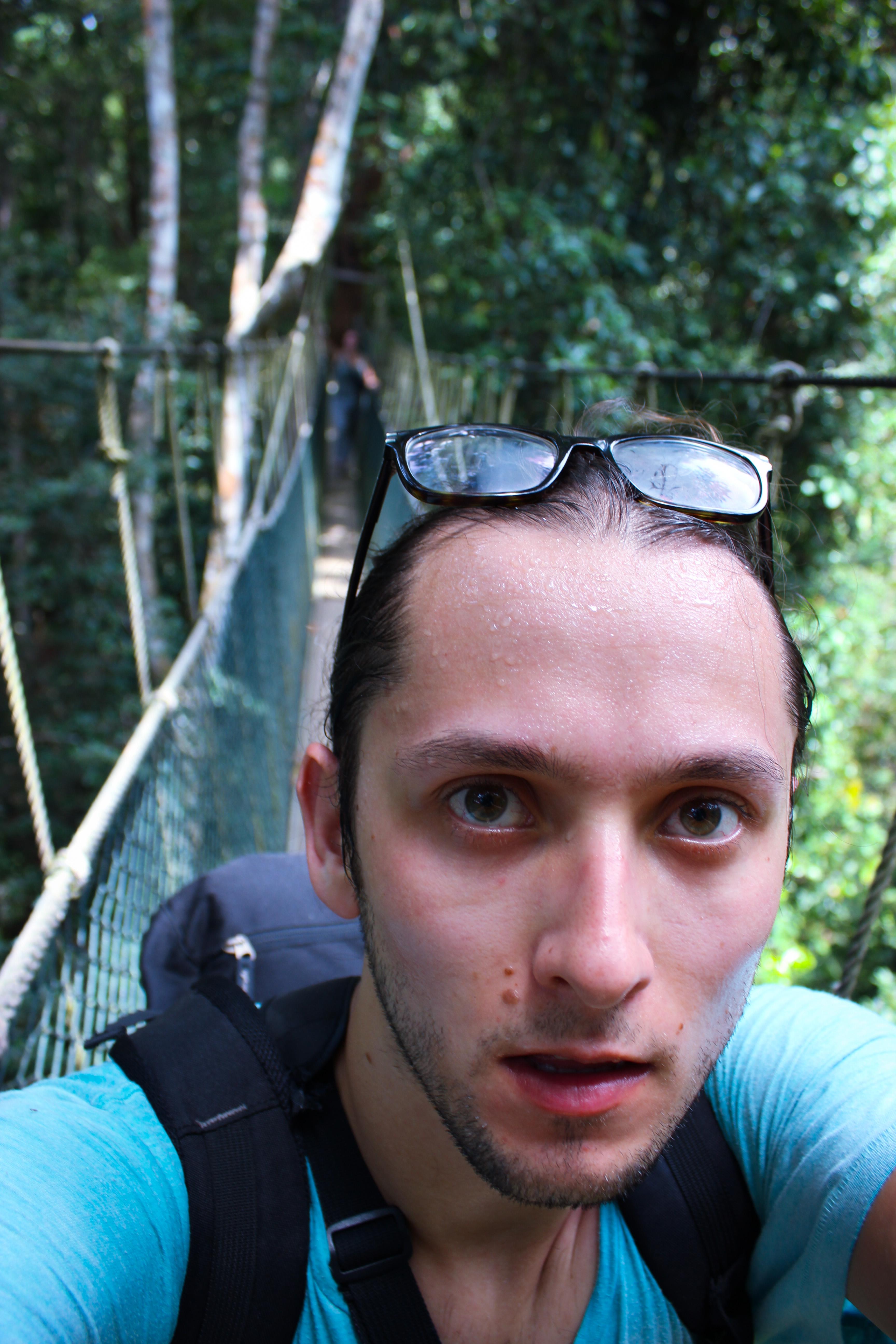 Image d'un homme qui transpire dur la jungle du taman negara