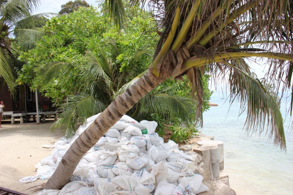 image de sacs sur la plage principale