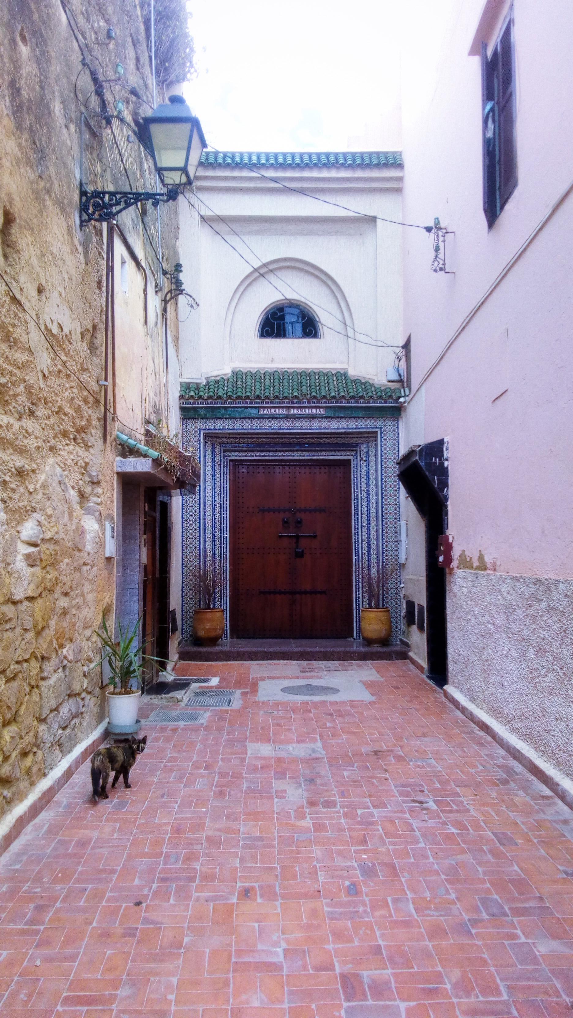 Image d'une porte dans une ruelle de Meknès au Maroc