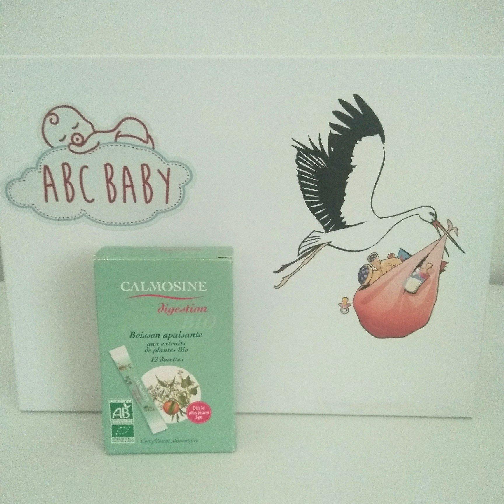boîte de Calmosine digestion BIO devant une ABC BABY BOX